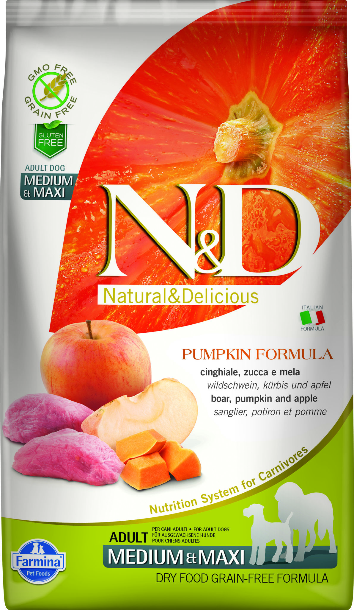 Фармина N&D PUMPKIN BOAR & APPLE ADULT Medium & Maxi 2,5кг