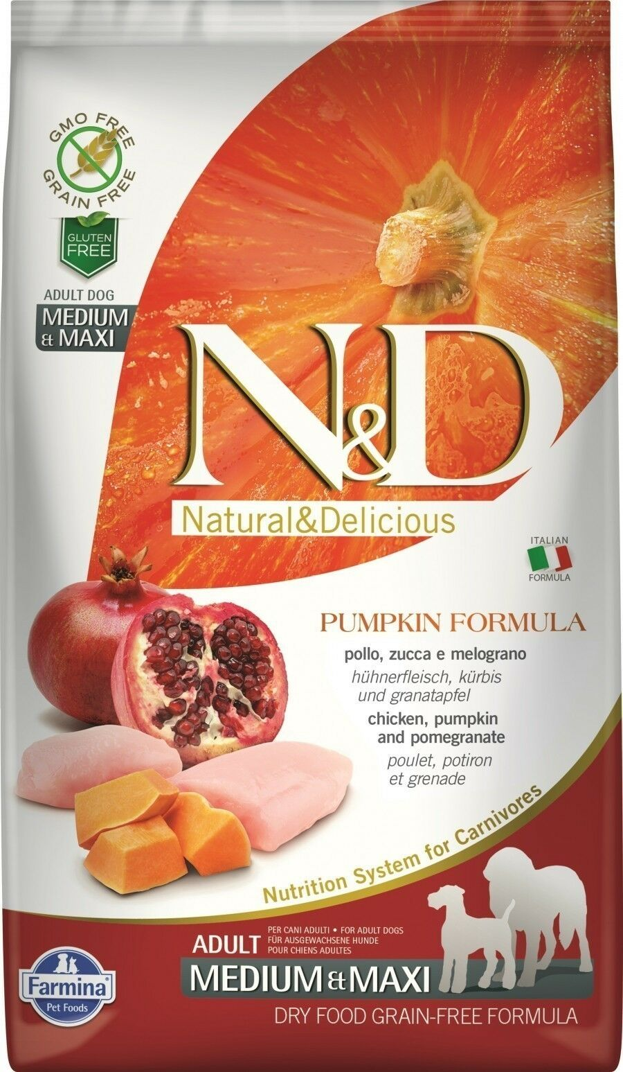 Фармина N&D PUMPKIN CHICKEN & POMEGRANATE Adult Medium & Maxi dog 12кг