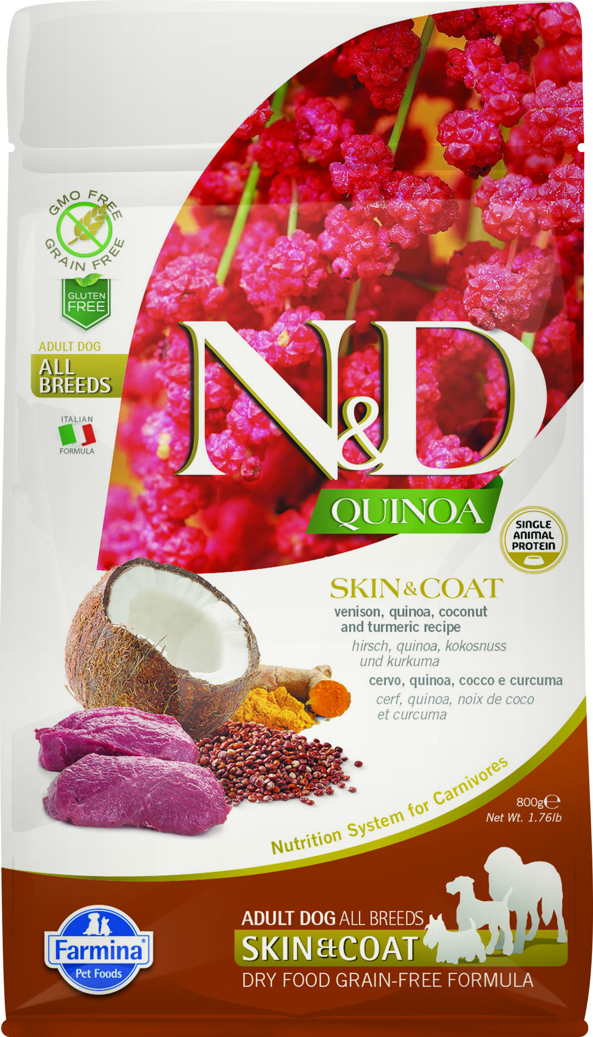 Фармина N&D QUINOA SKIN&COAT VENISON Adult 2,5кг Беззерн. корм д/собак киноа/олен.Здор.кож.и шерс.