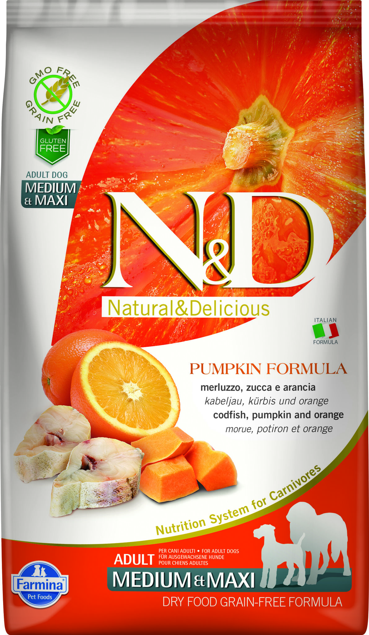 Фармина N&D PUMPKIN CODFISH & ORANGE ADULT Medium & Maxi dog 12кг